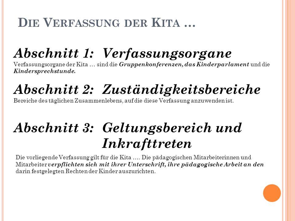 D IE V ERFASSUNG DER K ITA … Abschnitt 1: Verfassungsorgane Verfassungsorgane der Kita … sind die Gruppenkonferenzen, das Kinderparlament und die Kindersprechstunde.