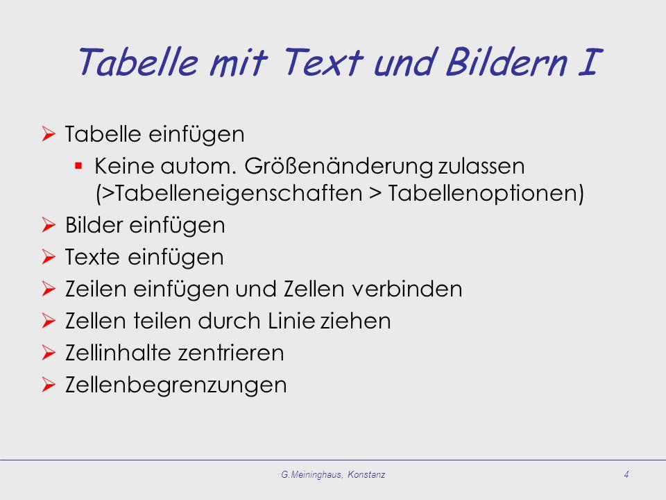 Tabelle mit Text und Bildern I  Tabelle einfügen  Keine autom.