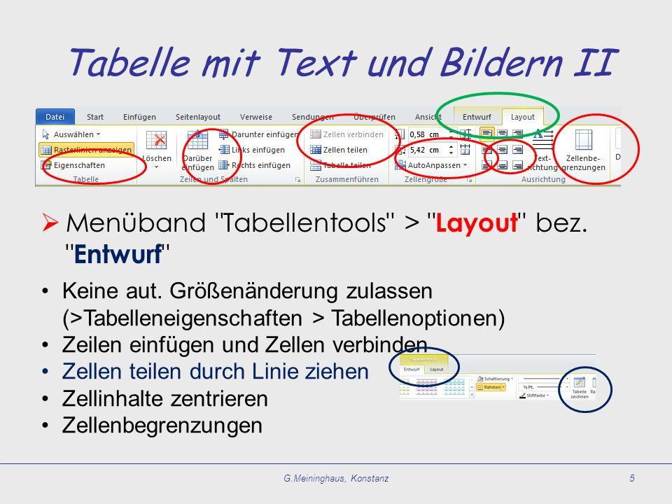 Tabelle mit Text und Bildern II  Menüband Tabellentools > Layout bez.