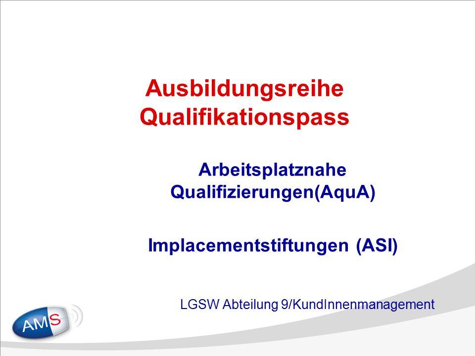 Ausbildungsreihe Qualifikationspass Arbeitsplatznahe Qualifizierungen(AquA) Implacementstiftungen (ASI) LGSW Abteilung 9/KundInnenmanagement