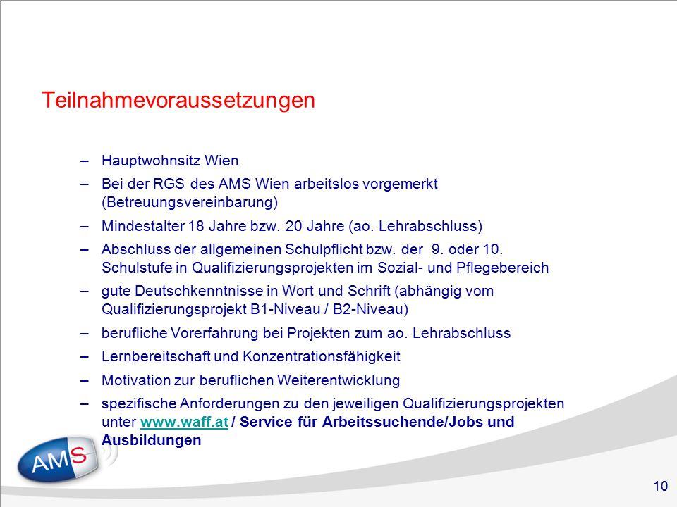 10 Teilnahmevoraussetzungen –Hauptwohnsitz Wien –Bei der RGS des AMS Wien arbeitslos vorgemerkt (Betreuungsvereinbarung) –Mindestalter 18 Jahre bzw.