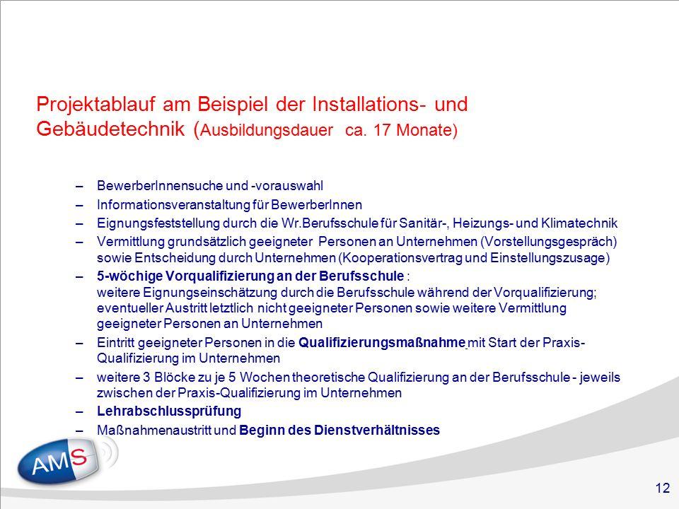 12 Projektablauf am Beispiel der Installations- und Gebäudetechnik ( Ausbildungsdauer ca.