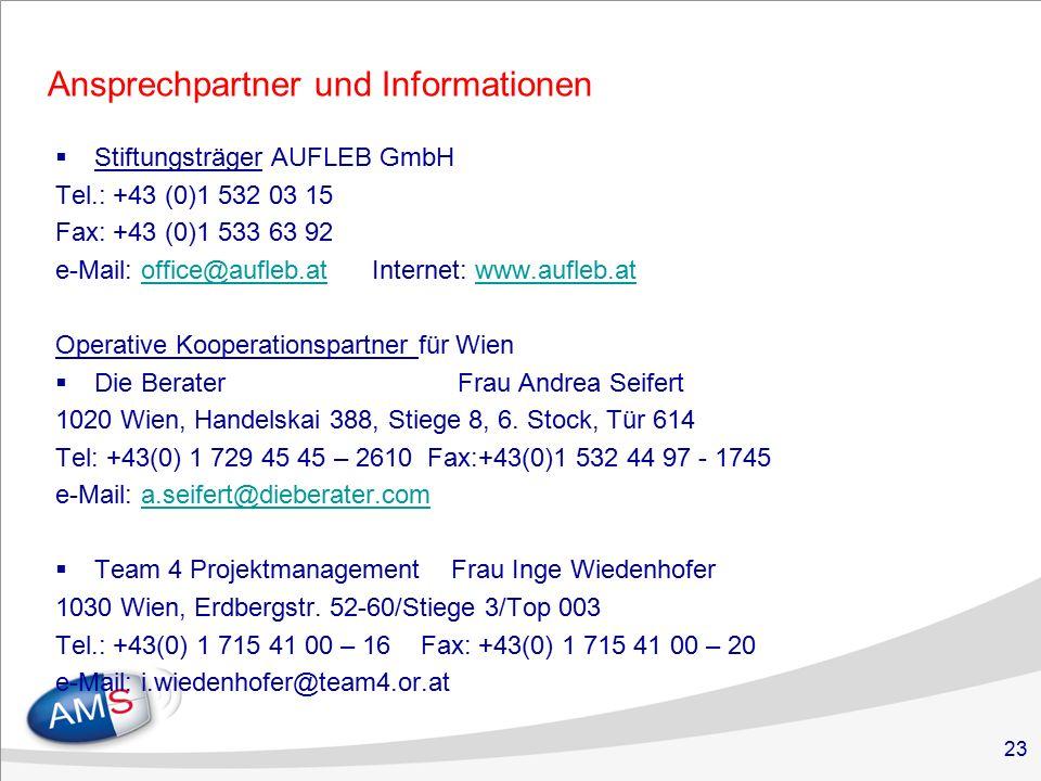 23 Ansprechpartner und Informationen  Stiftungsträger AUFLEB GmbH Tel.: +43 (0)1 532 03 15 Fax: +43 (0)1 533 63 92 e-Mail: office@aufleb.at Internet: www.aufleb.atoffice@aufleb.atwww.aufleb.at Operative Kooperationspartner für Wien  Die Berater Frau Andrea Seifert 1020 Wien, Handelskai 388, Stiege 8, 6.