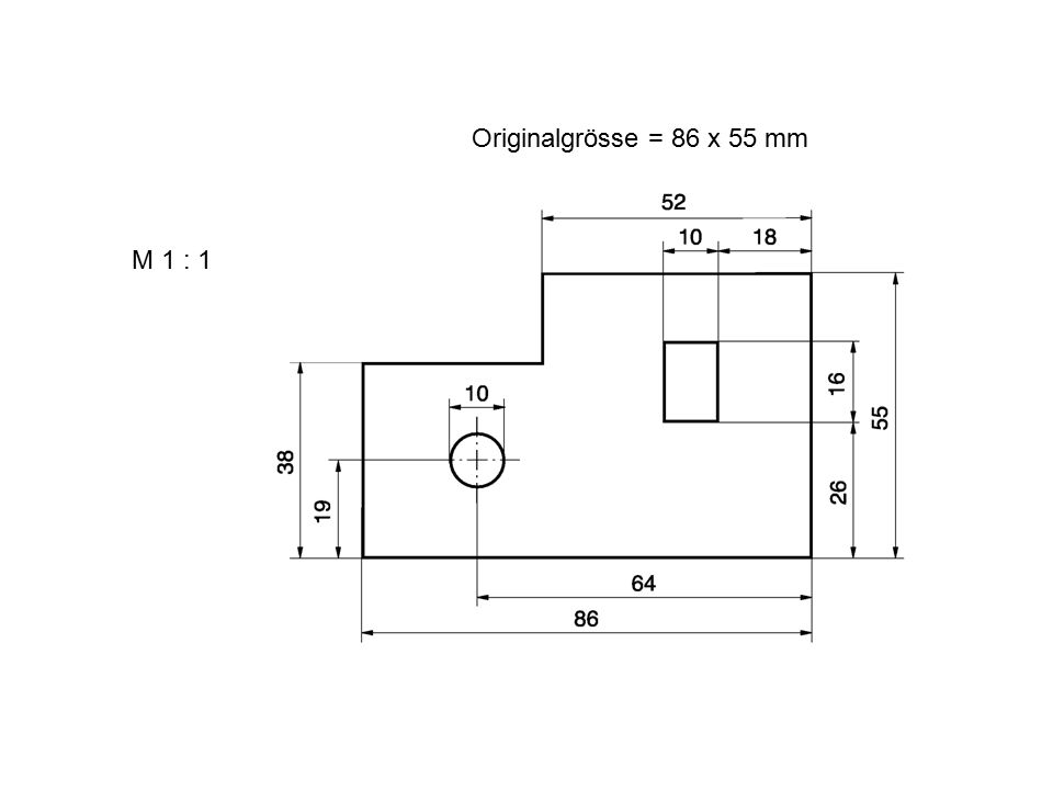 Originalgrösse = 86 x 55 mm M 1 : 1