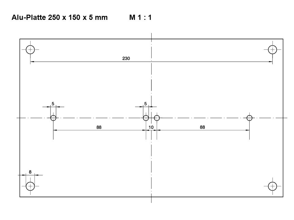 Alu-Platte 250 x 150 x 5 mmM 1 : 1