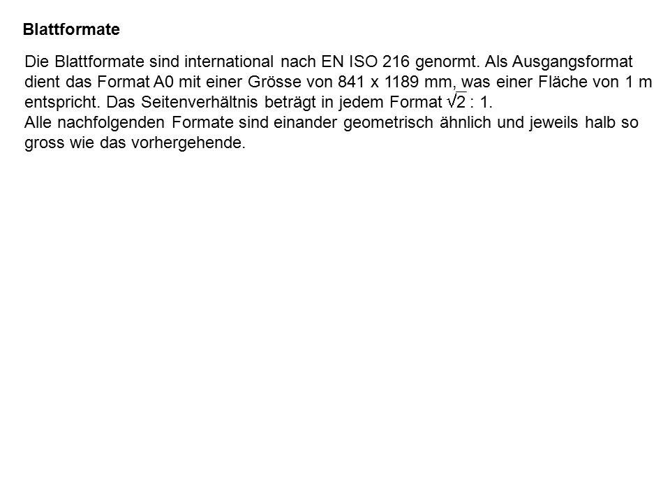 Blattformate Die Blattformate sind international nach EN ISO 216 genormt.