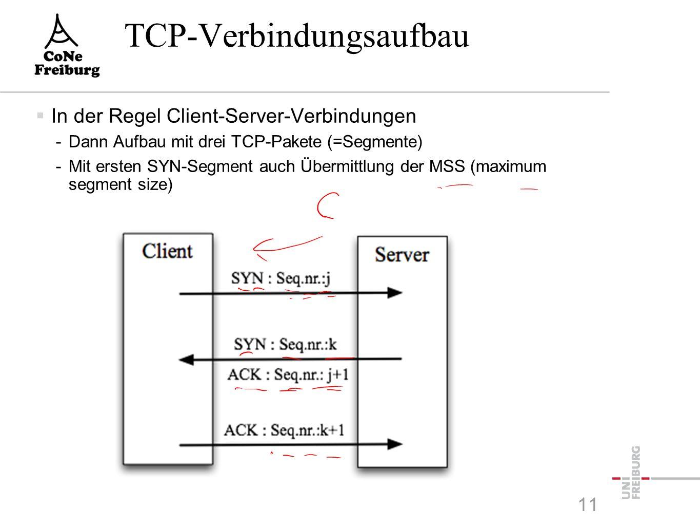 TCP-Verbindungsaufbau  In der Regel Client-Server-Verbindungen -Dann Aufbau mit drei TCP-Pakete (=Segmente) -Mit ersten SYN-Segment auch Übermittlung der MSS (maximum segment size) 11