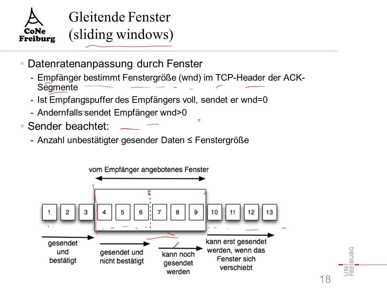 Gleitende Fenster (sliding windows)  Datenratenanpassung durch Fenster -Empfänger bestimmt Fenstergröße (wnd) im TCP-Header der ACK- Segmente -Ist Empfangspuffer des Empfängers voll, sendet er wnd=0 -Andernfalls sendet Empfänger wnd>0  Sender beachtet: -Anzahl unbestätigter gesender Daten ≤ Fenstergröße 18
