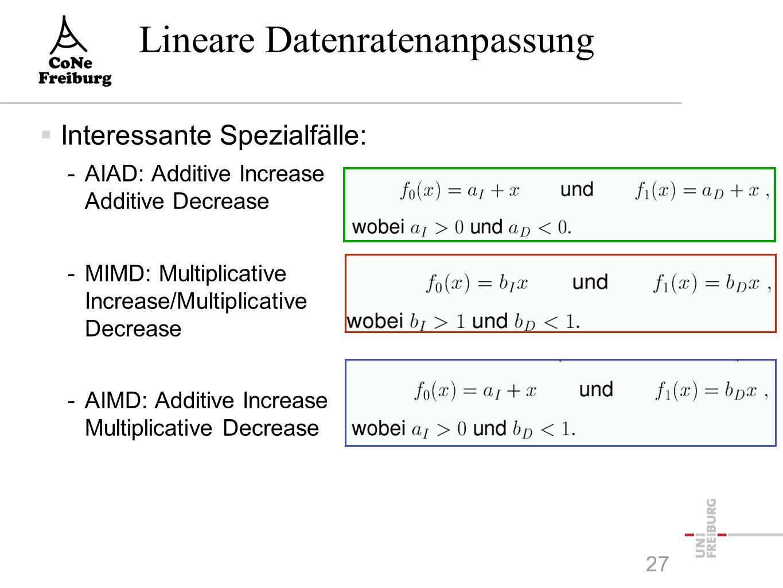 Lineare Datenratenanpassung  Interessante Spezialfälle: -AIAD: Additive Increase Additive Decrease -MIMD: Multiplicative Increase/Multiplicative Decrease -AIMD: Additive Increase Multiplicative Decrease 27