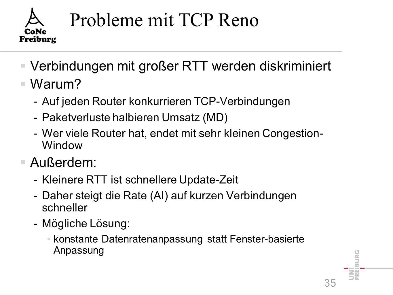 Probleme mit TCP Reno  Verbindungen mit großer RTT werden diskriminiert  Warum.