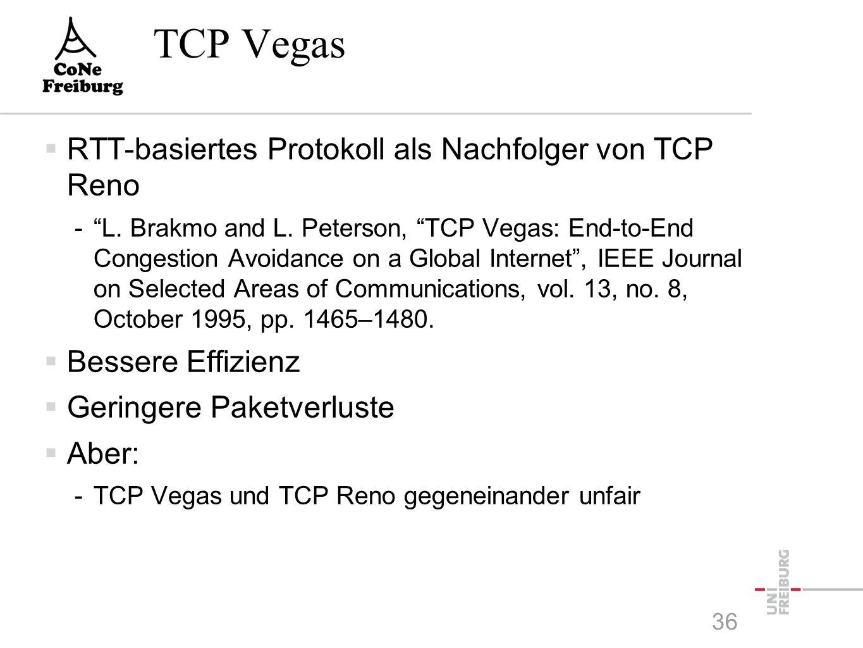TCP Vegas  RTT-basiertes Protokoll als Nachfolger von TCP Reno - L.