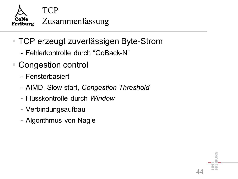 TCP Zusammenfassung  TCP erzeugt zuverlässigen Byte-Strom -Fehlerkontrolle durch GoBack-N  Congestion control -Fensterbasiert -AIMD, Slow start, Congestion Threshold -Flusskontrolle durch Window -Verbindungsaufbau -Algorithmus von Nagle 44