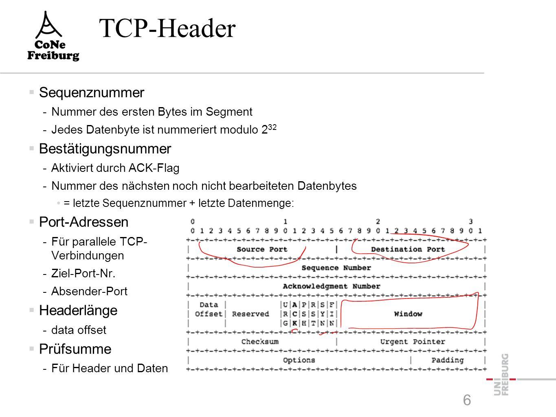 TCP-Header  Sequenznummer -Nummer des ersten Bytes im Segment -Jedes Datenbyte ist nummeriert modulo 2 32  Bestätigungsnummer -Aktiviert durch ACK-Flag -Nummer des nächsten noch nicht bearbeiteten Datenbytes = letzte Sequenznummer + letzte Datenmenge:  Port-Adressen -Für parallele TCP- Verbindungen -Ziel-Port-Nr.