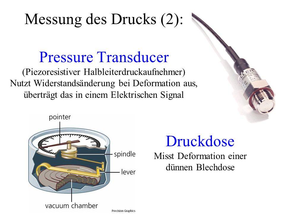 Messung des Drucks (2): Pressure Transducer (Piezoresistiver Halbleiterdruckaufnehmer) Nutzt Widerstandsänderung bei Deformation aus, überträgt das in einem Elektrischen Signal Druckdose Misst Deformation einer dünnen Blechdose