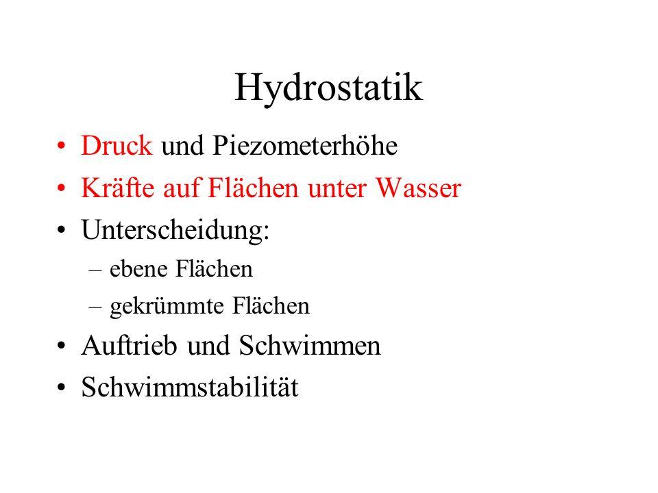 Hydrostatik Druck und Piezometerhöhe Kräfte auf Flächen unter Wasser Unterscheidung: –ebene Flächen –gekrümmte Flächen Auftrieb und Schwimmen Schwimmstabilität