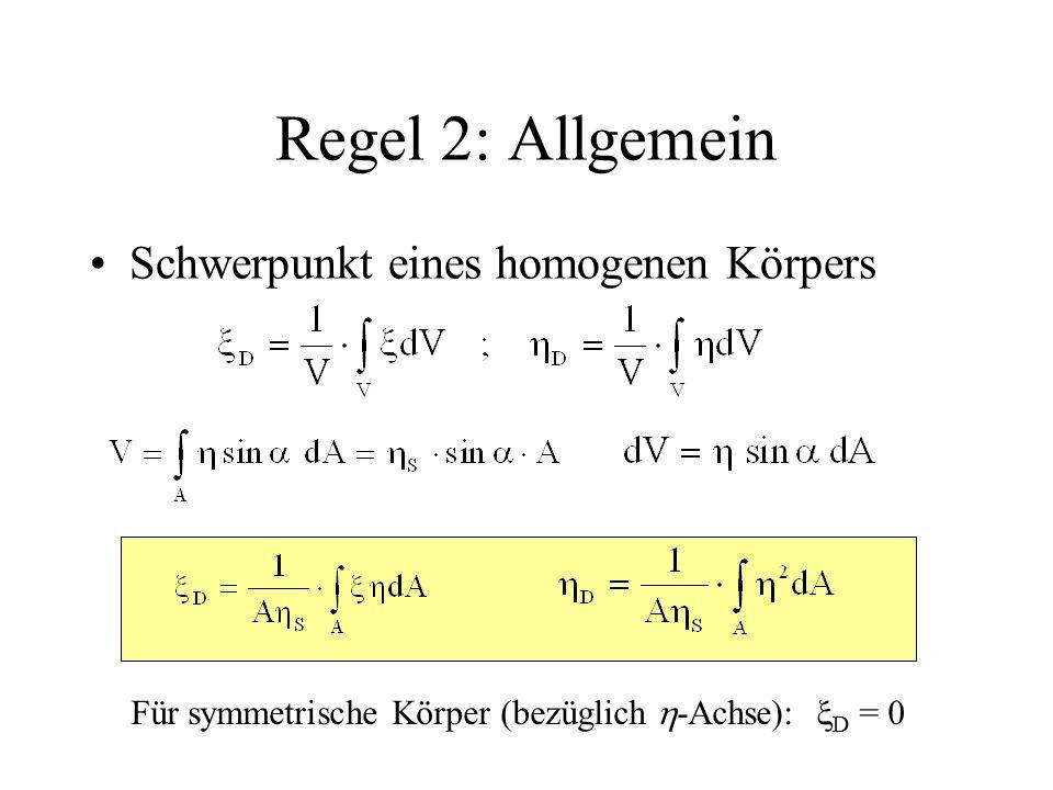 Regel 2: Allgemein Schwerpunkt eines homogenen Körpers Für symmetrische Körper (bezüglich  -Achse):  D = 0
