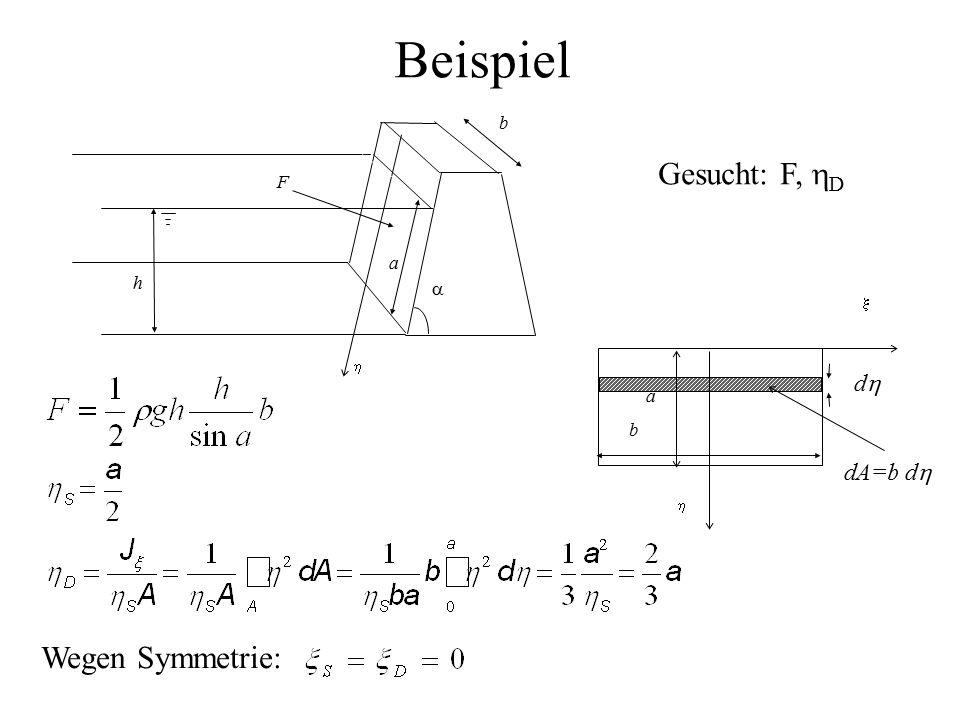 a  b h  F Gesucht: F,  D b   a dd dA=b d  Wegen Symmetrie: Beispiel