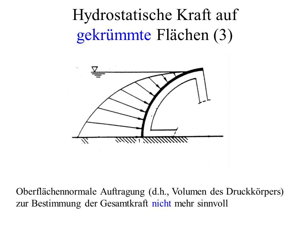 Oberflächennormale Auftragung (d.h., Volumen des Druckkörpers) zur Bestimmung der Gesamtkraft nicht mehr sinnvoll Hydrostatische Kraft auf gekrümmte Flächen (3)