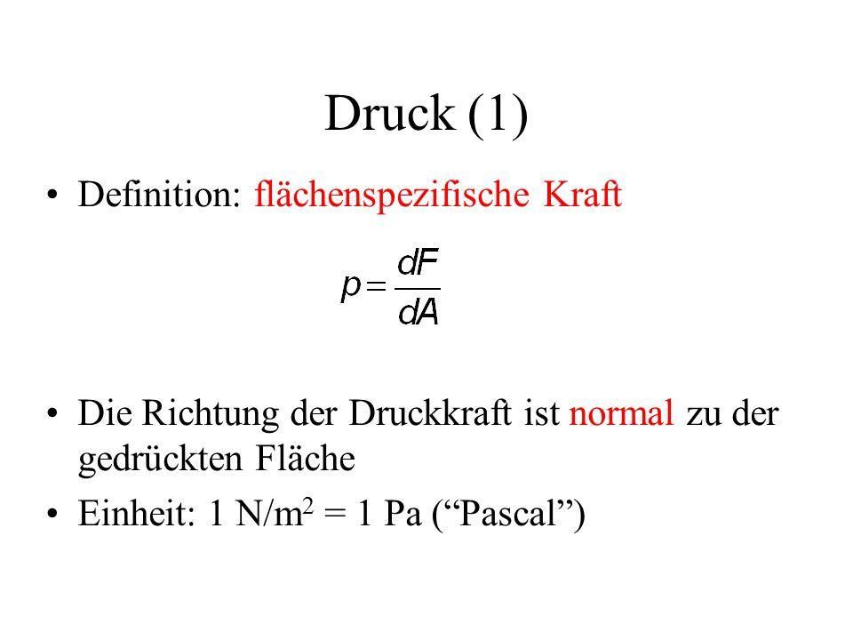 Druck (1) Definition: flächenspezifische Kraft Die Richtung der Druckkraft ist normal zu der gedrückten Fläche Einheit: 1 N/m 2 = 1 Pa ( Pascal )