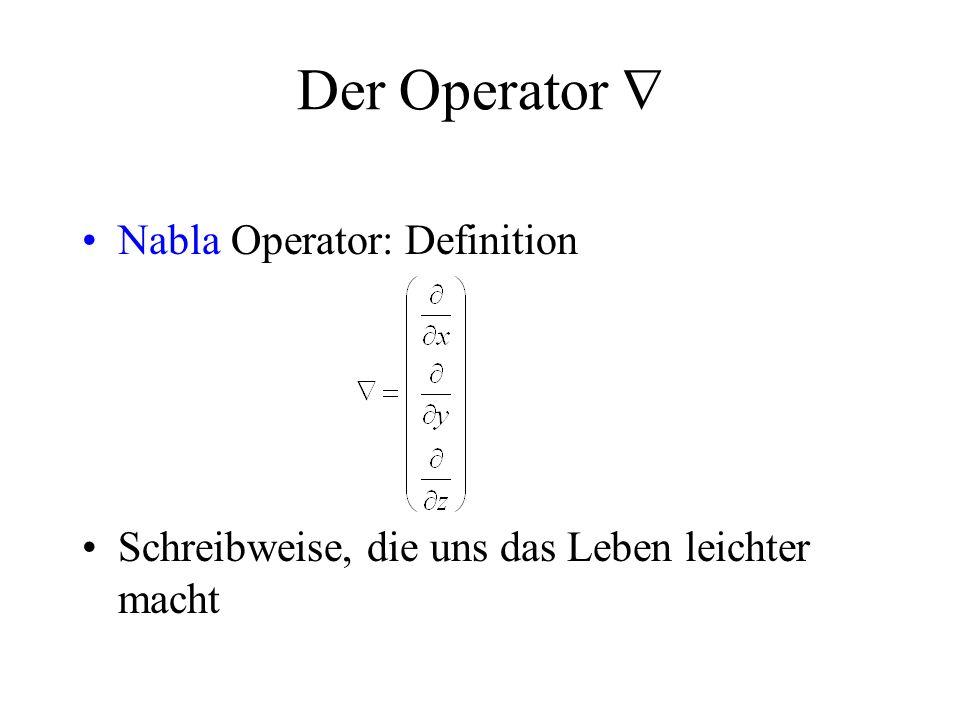 Der Operator  Nabla Operator: Definition Schreibweise, die uns das Leben leichter macht