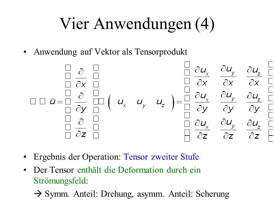 Anwendung auf Vektor als Tensorprodukt Ergebnis der Operation: Tensor zweiter Stufe Der Tensor enthält die Deformation durch ein Strömungsfeld:  Symm.