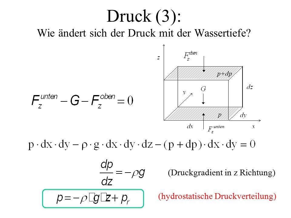 Druck (3): Wie ändert sich der Druck mit der Wassertiefe.