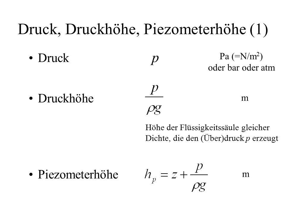 Druck, Druckhöhe, Piezometerhöhe (1) Druck p Druckhöhe Piezometerhöhe Pa (=N/m 2 ) oder bar oder atm m m Höhe der Flüssigkeitssäule gleicher Dichte, die den (Über)druck p erzeugt