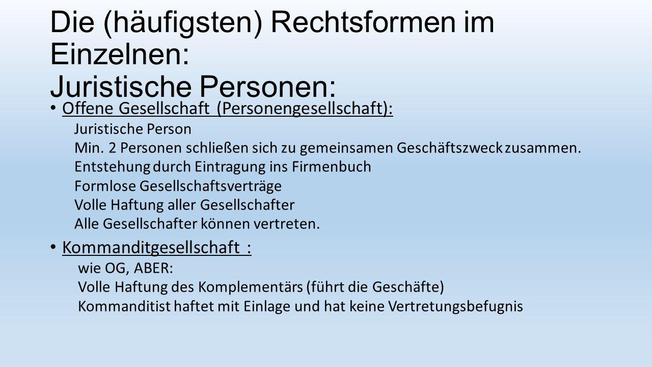 Die (häufigsten) Rechtsformen im Einzelnen: Juristische Personen: Offene Gesellschaft (Personengesellschaft): Juristische Person Min.