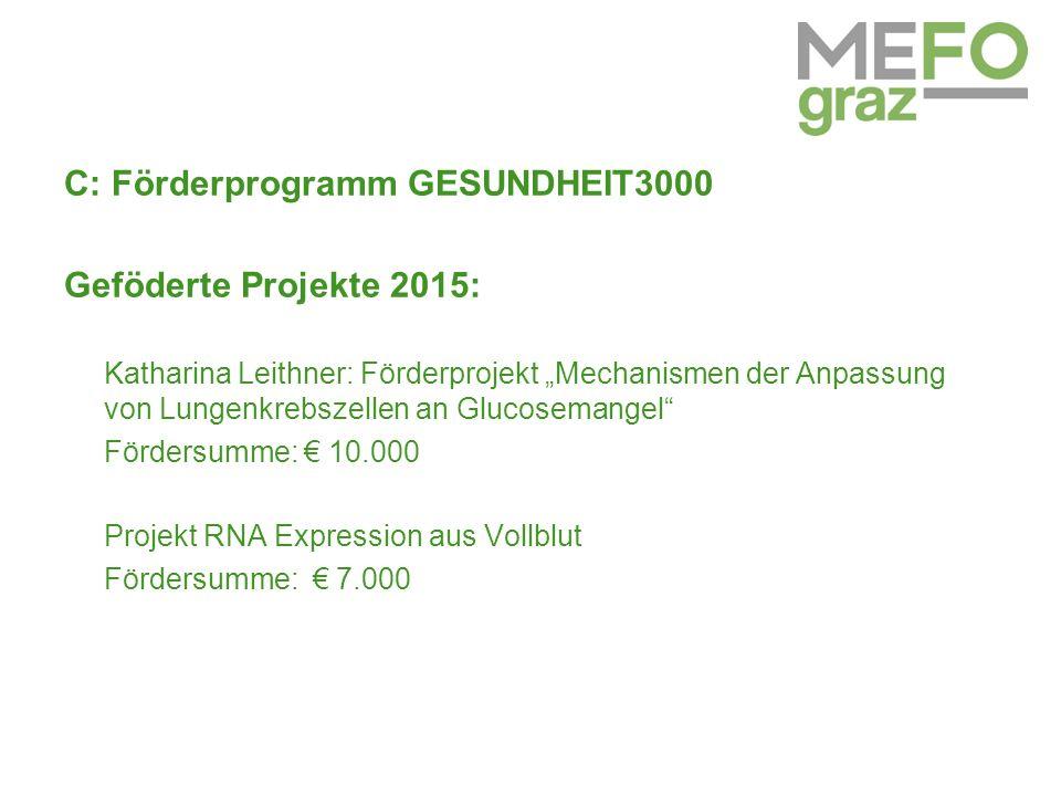 """C: Förderprogramm GESUNDHEIT3000 Geföderte Projekte 2015: Katharina Leithner: Förderprojekt """"Mechanismen der Anpassung von Lungenkrebszellen an Glucosemangel Fördersumme: € 10.000 Projekt RNA Expression aus Vollblut Fördersumme: € 7.000"""