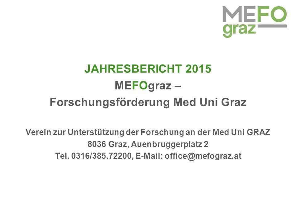 JAHRESBERICHT 2015 MEFOgraz – Forschungsförderung Med Uni Graz Verein zur Unterstützung der Forschung an der Med Uni GRAZ 8036 Graz, Auenbruggerplatz 2 Tel.
