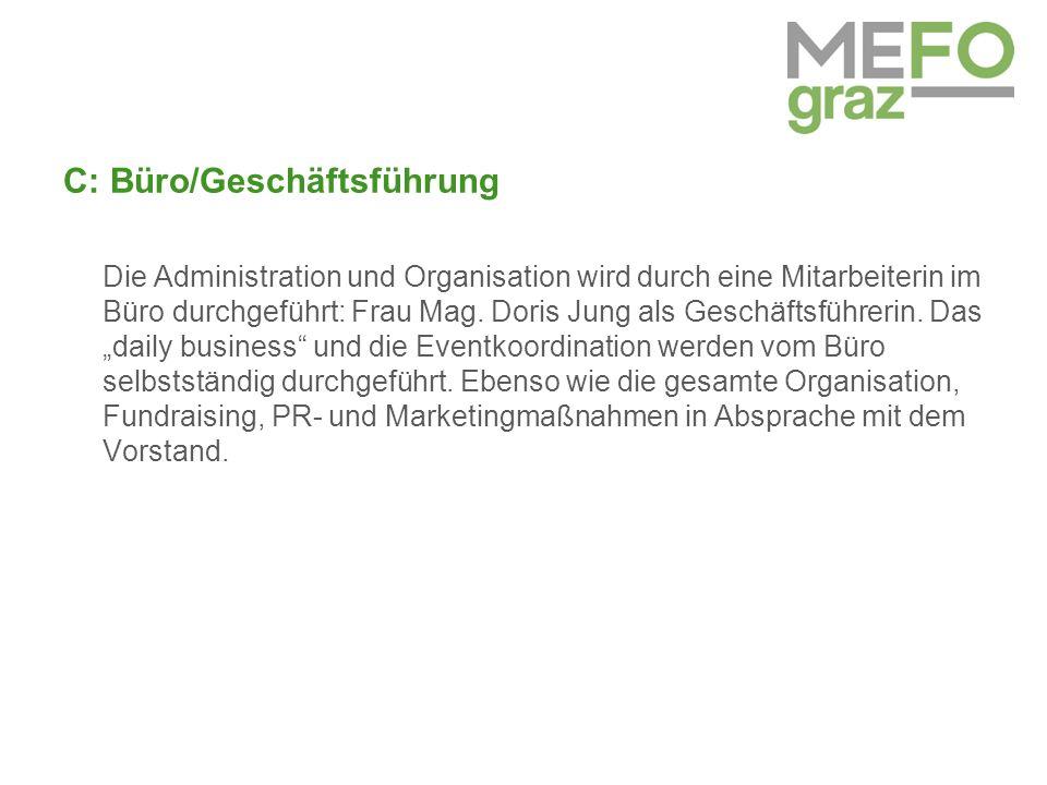 C: Büro/Geschäftsführung Die Administration und Organisation wird durch eine Mitarbeiterin im Büro durchgeführt: Frau Mag.