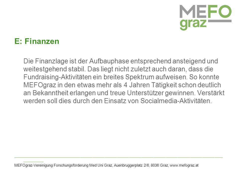 E: Finanzen Die Finanzlage ist der Aufbauphase entsprechend ansteigend und weitestgehend stabil.