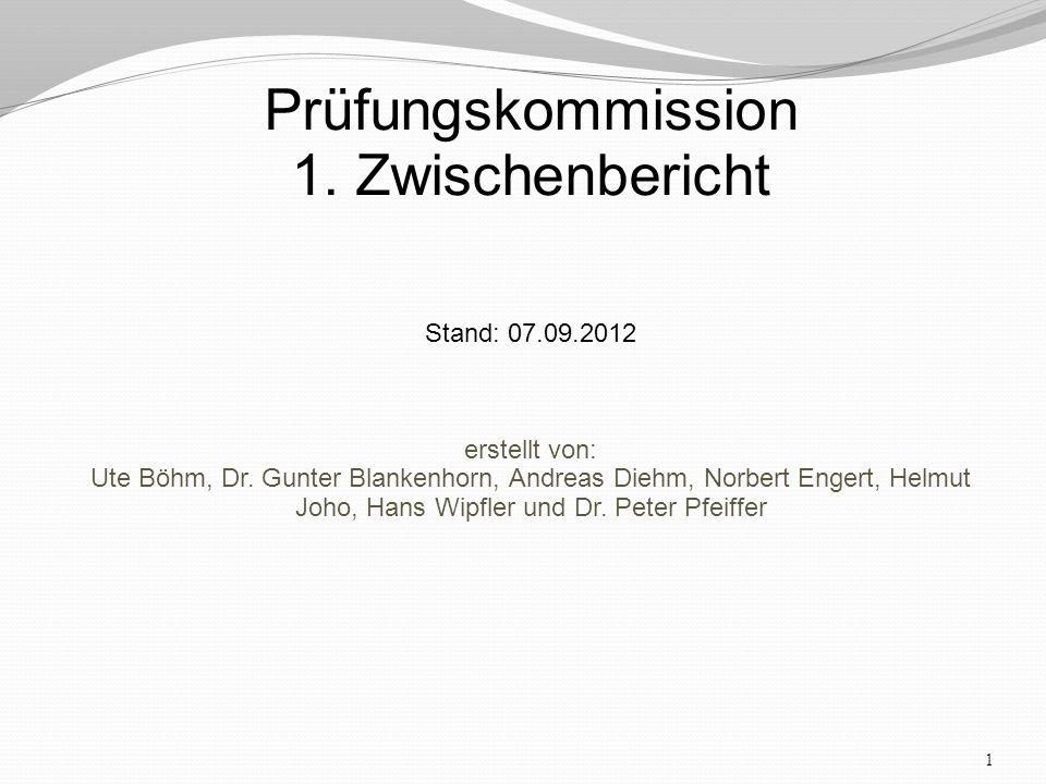 1 Prüfungskommission 1. Zwischenbericht Stand: 07.09.2012 erstellt von: Ute Böhm, Dr.