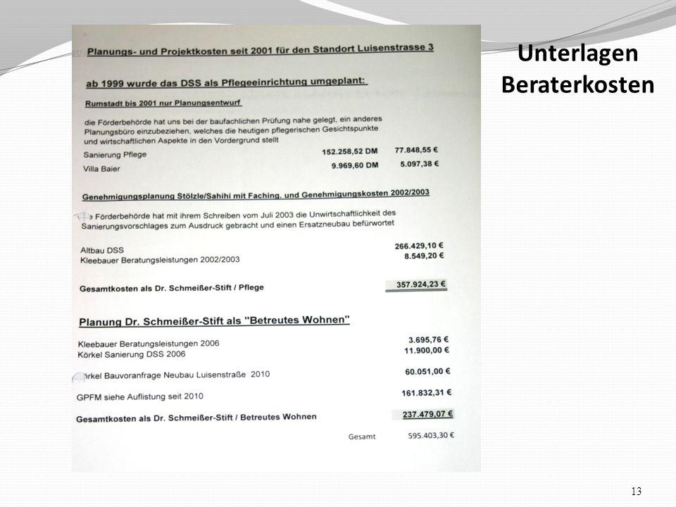 Unterlagen Beraterkosten 13