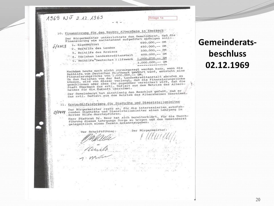 20 Gemeinderats- beschluss 02.12.1969..