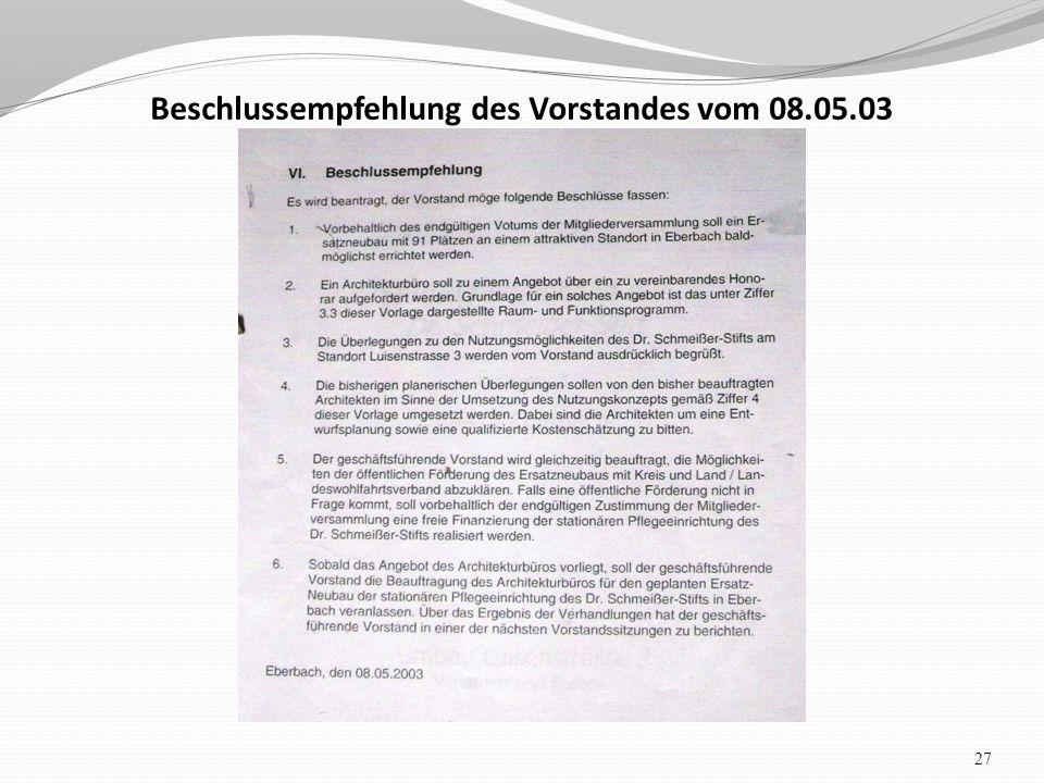 Beschlussempfehlung des Vorstandes vom 08.05.03 27