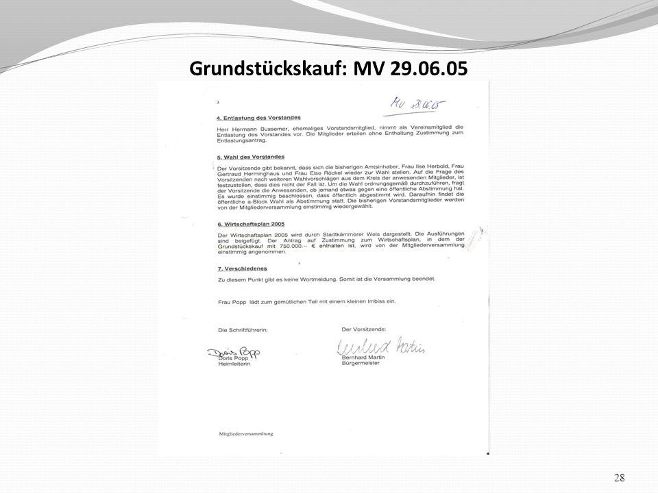 Grundstückskauf: MV 29.06.05 28