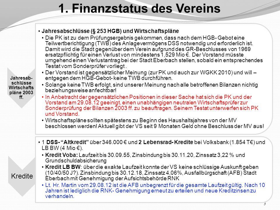 3 1. Finanzstatus des Vereins Jahresab- schlüsse Wirtschafts pläne 2003 ff.