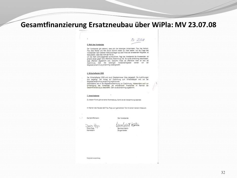 Gesamtfinanzierung Ersatzneubau über WiPla: MV 23.07.08 32