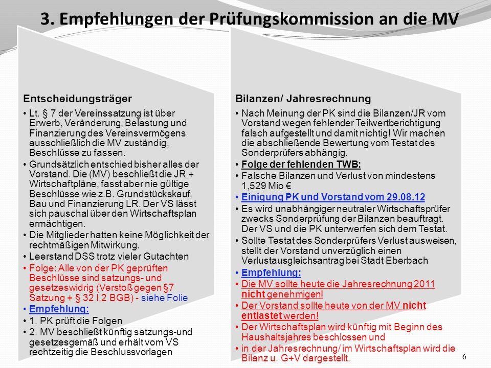 3. Empfehlungen der Prüfungskommission an die MV 6 Entscheidungsträger Lt.