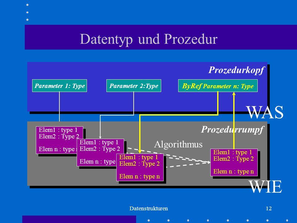 Datenstrukturen12 Parameter 1: TypeParameter 2:Type ByRef Parameter n: Type Prozedurkopf WAS Prozedurrumpf Algorithmus Elem1 : type 1 Elem2 : Type 2 Elem n : type n Elem1 : type 1 Elem2 : Type 2 Elem n : type n Elem1 : type 1 Elem2 : Type 2 Elem n : type n Elem1 : type 1 Elem2 : Type 2 Elem n : type n Elem1 : type 1 Elem2 : Type 2 Elem n : type n Elem1 : type 1 Elem2 : Type 2 Elem n : type n Elem1 : type 1 Elem2 : Type 2 Elem n : type n Elem1 : type 1 Elem2 : Type 2 Elem n : type n WIE Datentyp und Prozedur