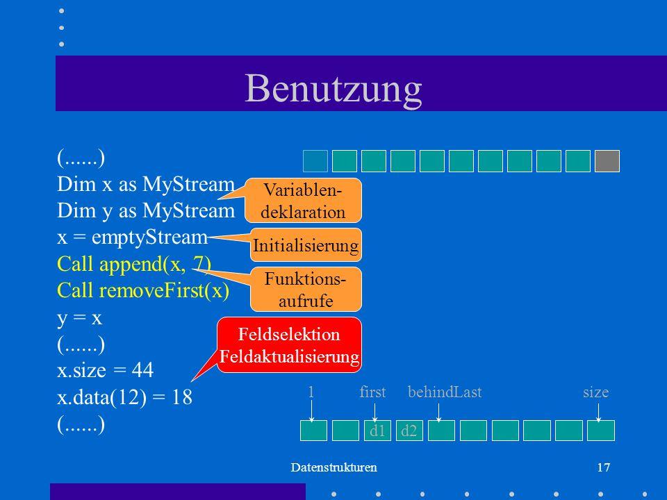 Datenstrukturen17 Benutzung (......) Dim x as MyStream Dim y as MyStream x = emptyStream Call append(x, 7) Call removeFirst(x) y = x (......) x.size = 44 x.data(12) = 18 (......) Variablen- deklaration Initialisierung Funktions- aufrufe Feldselektion Feldaktualisierung d1d2 firstbehindLastsize1