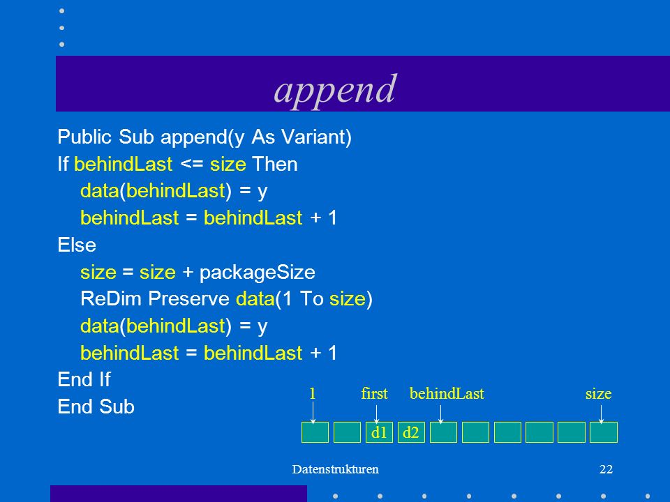 Datenstrukturen22 append Public Sub append(y As Variant) If behindLast <= size Then data(behindLast) = y behindLast = behindLast + 1 Else size = size + packageSize ReDim Preserve data(1 To size) data(behindLast) = y behindLast = behindLast + 1 End If End Sub d1d2 firstbehindLastsize1