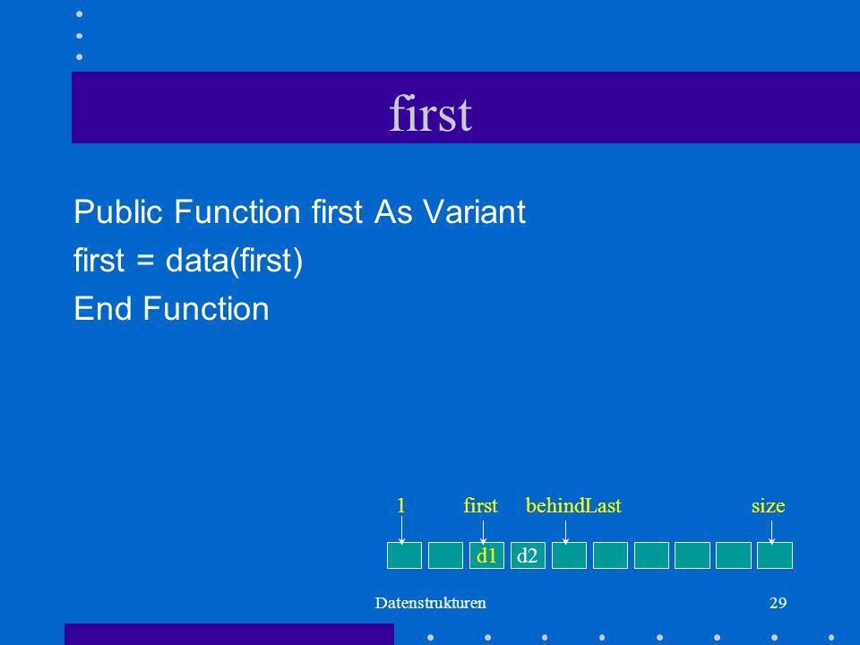 Datenstrukturen29 first Public Function first As Variant first = data(first) End Function d1d2 firstbehindLastsize1
