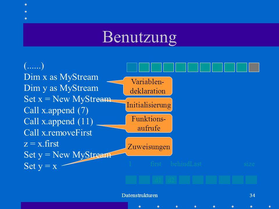 Datenstrukturen34 Initialisierung Zuweisungen Benutzung (......) Dim x as MyStream Dim y as MyStream Set x = New MyStream Call x.append (7) Call x.append (11) Call x.removeFirst z = x.first Set y = New MyStream Set y = x Variablen- deklaration Funktions- aufrufe d1d2 firstbehindLastsize1