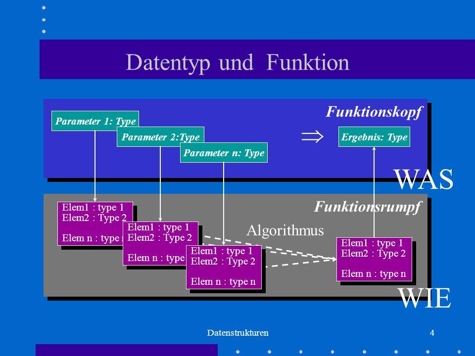 Datenstrukturen4 Datentyp und Funktion Parameter 1: Type Parameter 2:Type Parameter n: Type  Ergebnis: Type Funktionskopf WAS Funktionsrumpf Algorithmus Elem1 : type 1 Elem2 : Type 2 Elem n : type n Elem1 : type 1 Elem2 : Type 2 Elem n : type n Elem1 : type 1 Elem2 : Type 2 Elem n : type n Elem1 : type 1 Elem2 : Type 2 Elem n : type n Elem1 : type 1 Elem2 : Type 2 Elem n : type n Elem1 : type 1 Elem2 : Type 2 Elem n : type n Elem1 : type 1 Elem2 : Type 2 Elem n : type n Elem1 : type 1 Elem2 : Type 2 Elem n : type n WIE