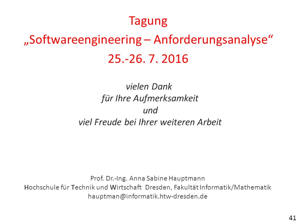 "Tagung ""Softwareengineering – Anforderungsanalyse"