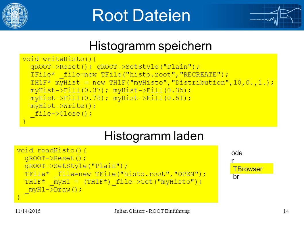 11/14/2016Julian Glatzer - ROOT Einführung14 Root Dateien Histogramm speichern Histogramm laden void readHisto(){ gROOT->Reset(); gROOT->SetStyle( Plain ); TFile* _file=new TFile( histo.root , OPEN ); TH1F* _myH1 = (TH1F*)_file->Get( myHisto ); _myH1->Draw(); } void writeHisto(){ gROOT->Reset(); gROOT->SetStyle( Plain ); TFile* _file=new TFile( histo.root , RECREATE ); TH1F* myHist = new TH1F( myHisto , Distribution ,10,0.,1.); myHist->Fill(0.37); myHist->Fill(0.35); myHist->Fill(0.78); myHist->Fill(0.51); myHist->Write(); _file->Close(); } TBrowser br ode r Histogramm laden
