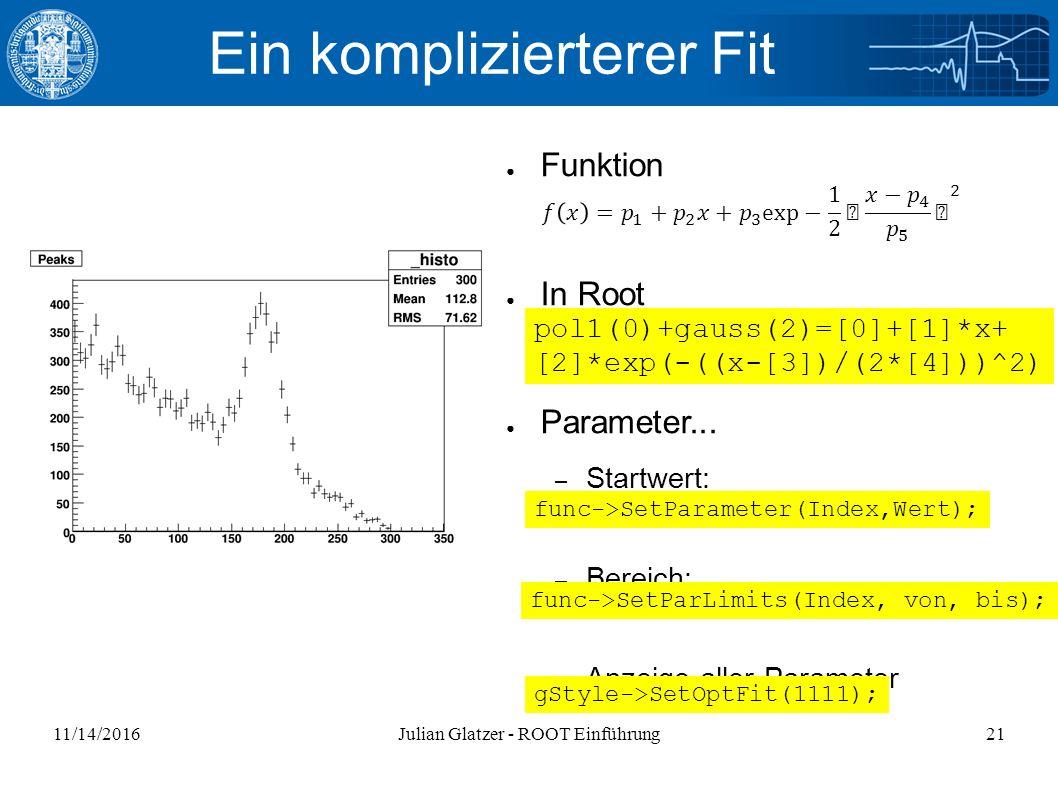 11/14/2016Julian Glatzer - ROOT Einführung21 Ein komplizierterer Fit ● Funktion ● In Root ● Parameter...