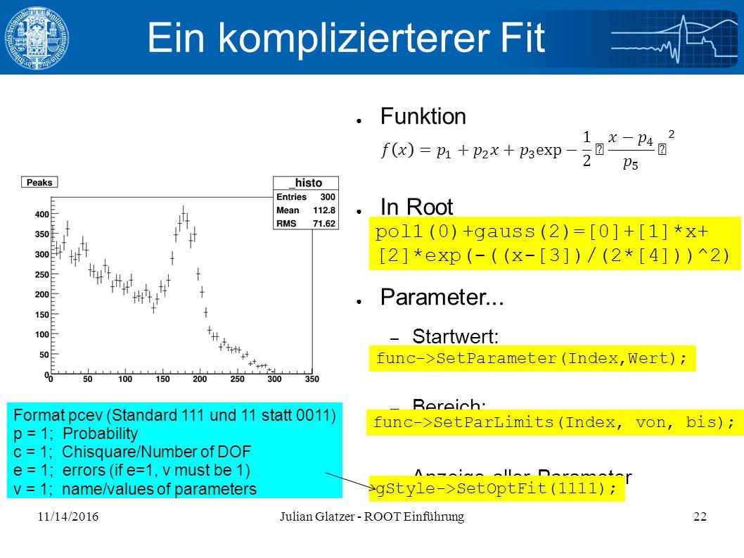 11/14/2016Julian Glatzer - ROOT Einführung22 Ein komplizierterer Fit ● Funktion ● In Root ● Parameter...